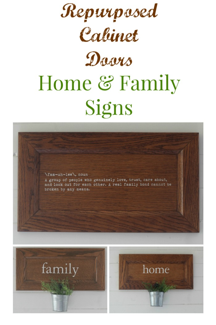 Cabinet Door Repurposed Signs | Family & Home by Knick of Time | knickoftime.net