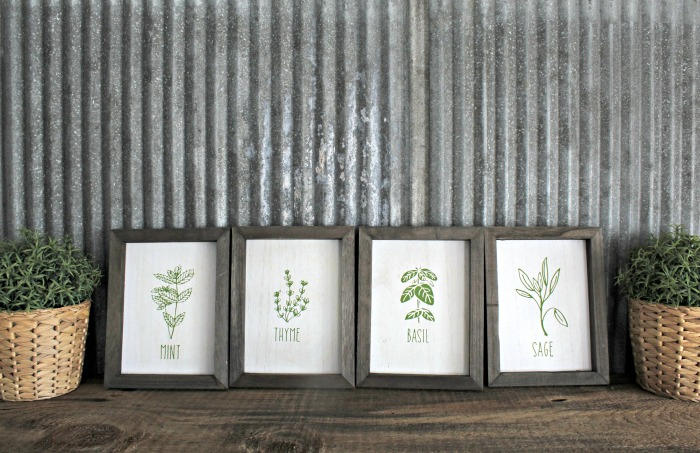 Fresh Herbs Kitchen Wood Box Frames Decor by Knick of Time / knickoftime.net