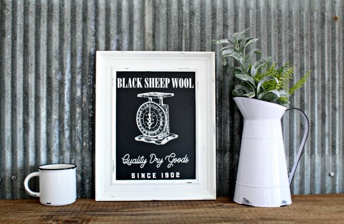 Farmhouse Style Chalkboard with Black Sheep Wool ,Dry Goods & Vintage Scale made using Chalk Couture Mercantile Corner Market Collection by Knick of Time / knickoftime.net