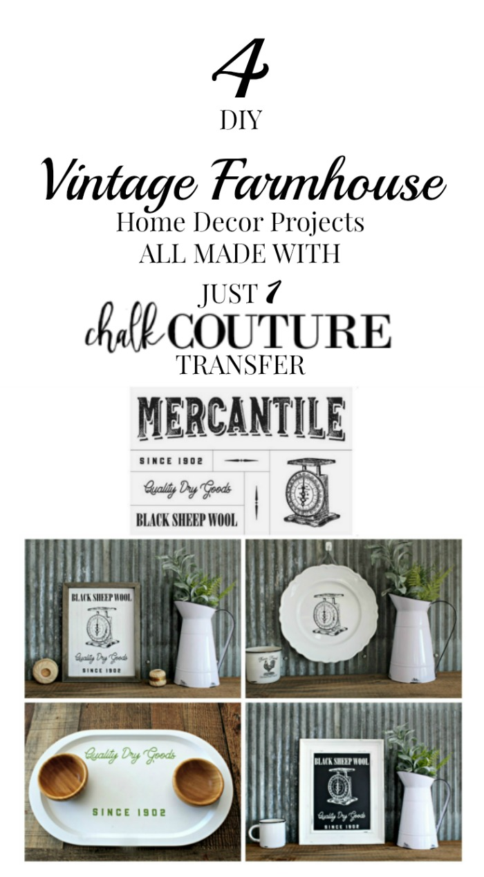Farmhouse Style DIY Home Decor made with the Chalk Couture Mercantile Corner Market Collection by Knick of Time / knickoftime.net
