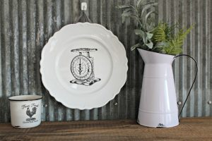 Farmhouse Vintage Scale on a Hobby Lobby Plate Charger with Chalk Couture Mercantile Corner Market Collection by Knick of Time/ knickoftime.net