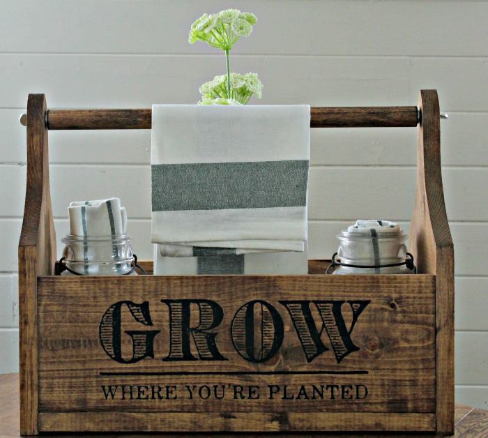 Grow Where You Are Planted Garden Wood Paper Towel Holder Kitchen Tote by Knick of Time