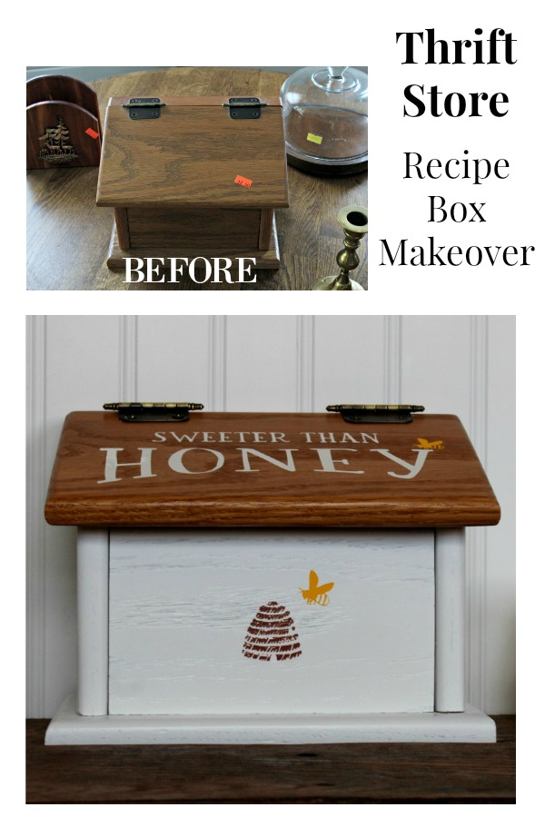 Easily transform a thrift store recipe box into one that's Sweeter than Honey with spray paint and an adhesive stencil! #knickoftime #thriftstore #makeover #DIY #diyproject #homedecor #chalkcouture #chalkart ##spraypaint #upcycled #springhomedecor #bees #upcycling #modernfarmhouse #buzz #chalkpaste #stencil #transfer #countrykitchen #countrydecor #farmhousekitchen #honey #beehive