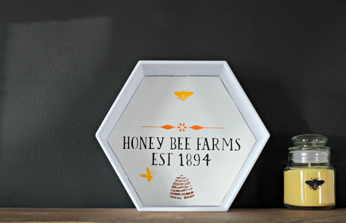 Dollar Tree DIY Modular Bee Hive Wall Shelf Upcycle using Chalk Couture's Sweeter Than Honey transfer by Knick of Time