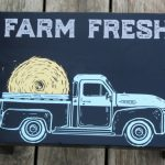 Chalk Couture vintage truck with hay bale black wooden stool by Knick of Time / knick of time.net