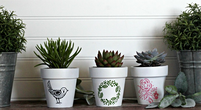 Farmhouse Style DIY Hello Spring Clay Pots withChalk Couture available from Knick of Time