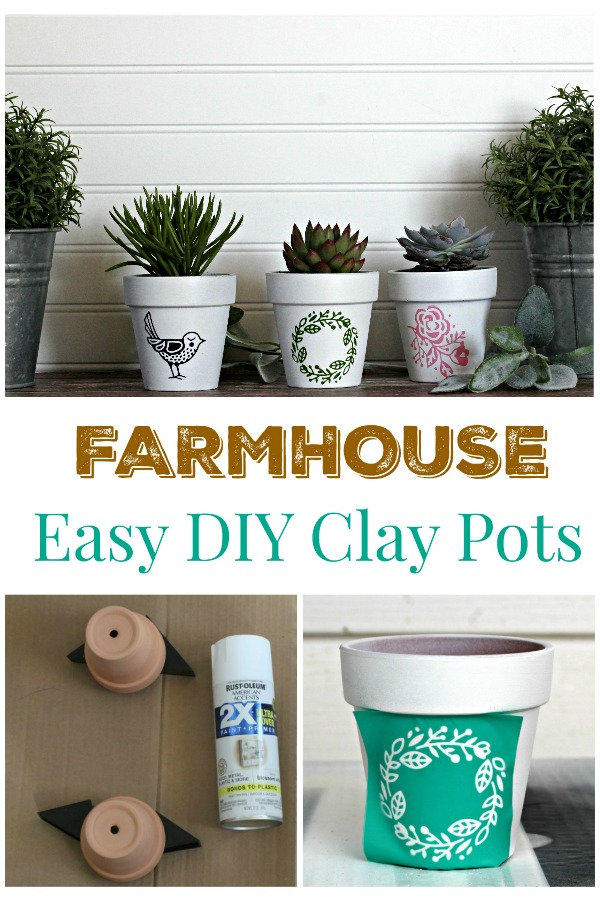 Easier than stenciling DIY Farmhouse Style Clay Pot Planters Tutorial at Knick of Time / knickoftime.net