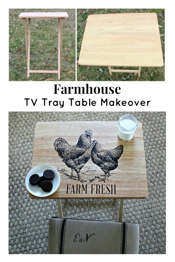 Farmhouse Style DIY TV Tray Table Makeover with Chalk Couture Chickens transfer available from Knick of Time