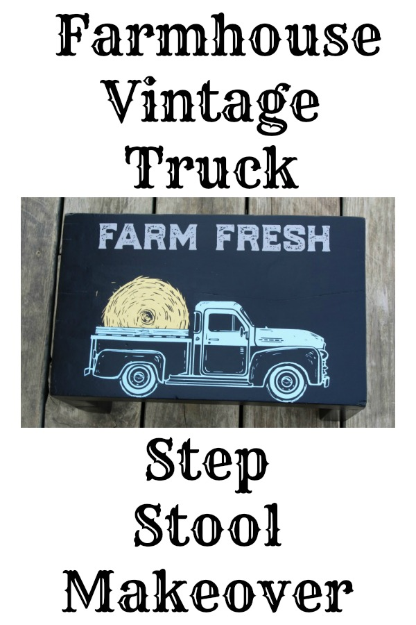 Farmhouse Vintage Truck Wooden Stool Makeover by Knick of Time / knickoftime.net