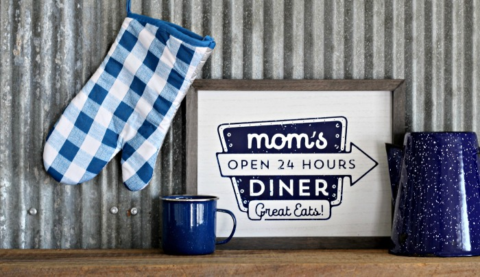 Mom's Diner Vintage Retro Wood Sign Custom Signs available in 22 color options by Knick of Time