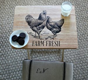 TV Tray Table Makeover with the Chalk Couture Chickens transfer available from Knick of Time / knick of time.net