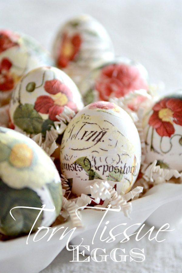 Torn Tissue Paper Eggs