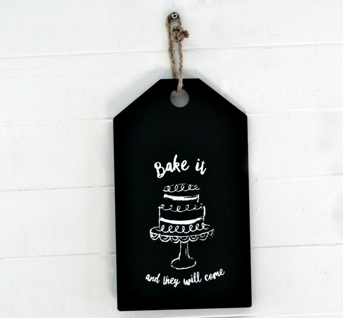 halk Couture Bake It and They Will Come Black Chalkboard Tag Wall Sign Jute Hanger by Knick of Time