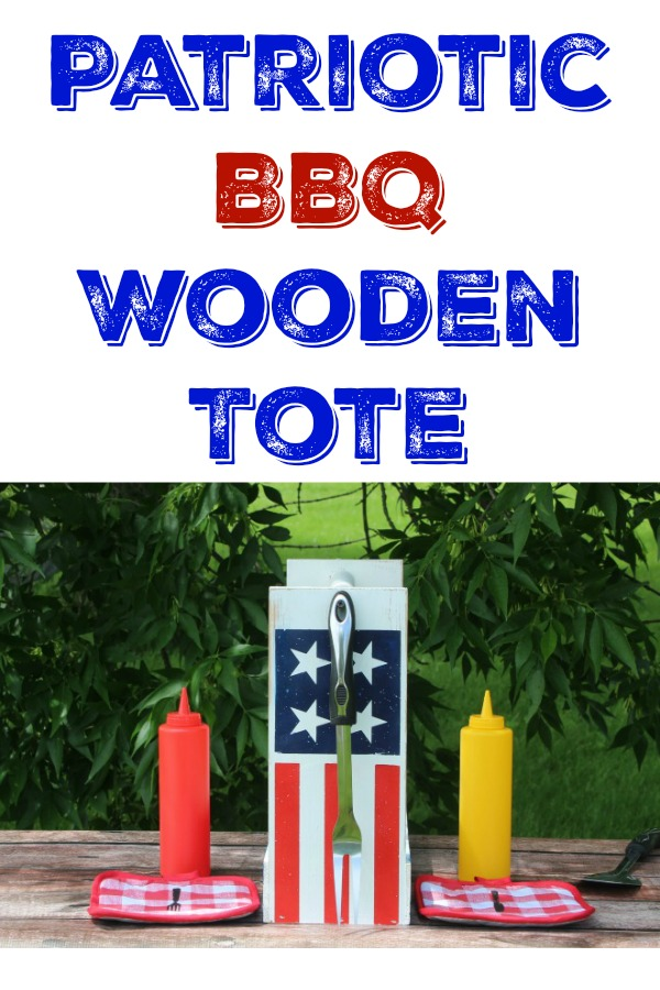 Homespun Flag DIY Patriotic BBQ Wooden Tote by Knick of Time