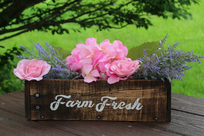 Farm Fresh Flower Rustic Wood Crate Box by Knick of Time