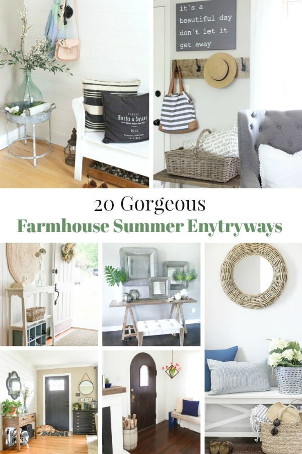 Get your entryway summer ready with these 20 Gorgeous Farmhouse Entryway Ideas! from Knick of Time / knickoftime.net