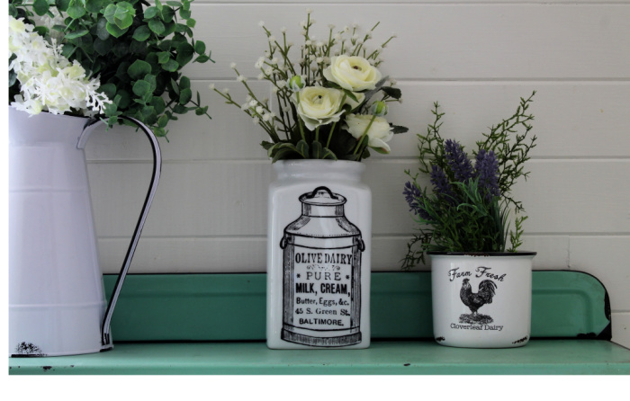 Ceramic Canister Farmhouse Chalk Chalk Couture Groceries Dairy Milk Can by Knick of Time