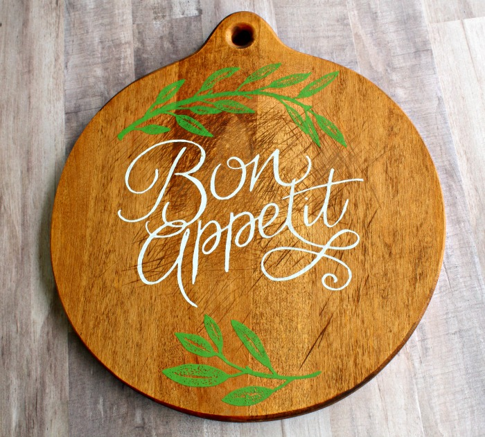 Bon Appetit French theme round vintage cutting board by Knick of Time