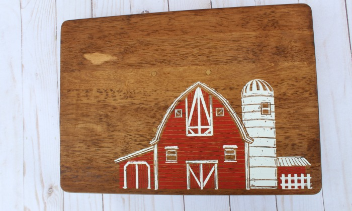 old red barn on wood with Chalk Couture