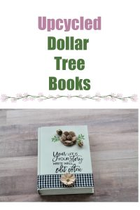 Farmhouse DIY Dollar Tree book upcycled with Chalk Couture transfer faux flowers buffalo check ribbon by Knick of Time