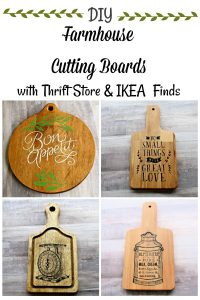Farmhouse Wooden Cutting Boards ideas using thrift store and IKEA finds by Knick of Time