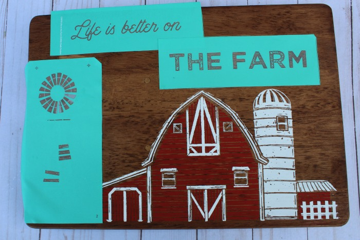 Cutting board makeover with Life on the Farm Chalk Couture tranfer available from Knick of Time