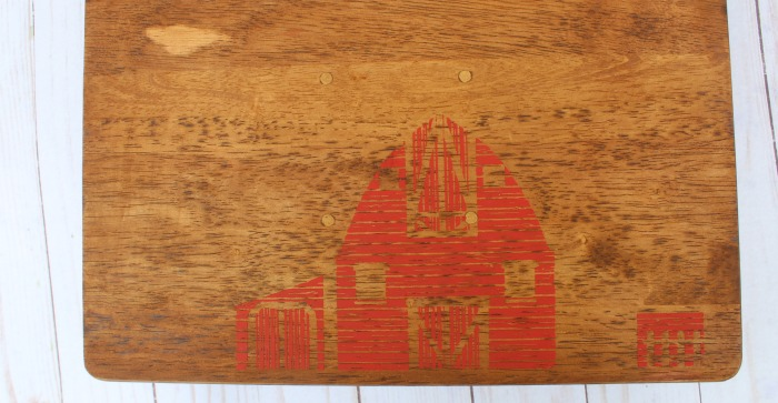 red barn on wood for farmhouse cutting board