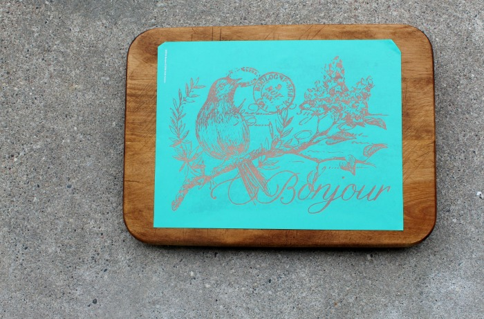 Bonjour transfer on wood cutting board