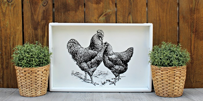 Farmhouse Chickens Wood Tray Thrift Store Makeover by Knick of Time