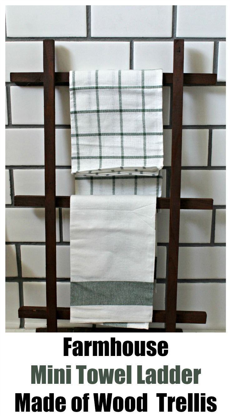 Farmhouse Mini Towel Ladder Using Wood Lattice Trellis by Knick of Time