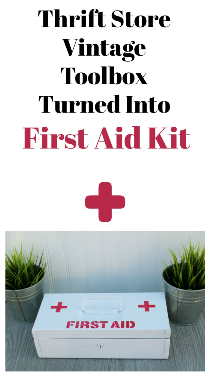 Thrift Store Vintage Toolbox Turned First Aid Kit by Knick of Time #diy #toolboxdivas #upcycle #repurposed #firstaid #medicine