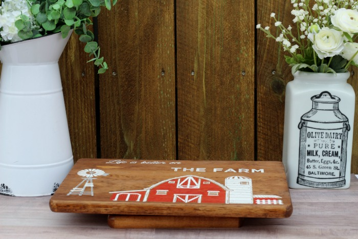 Vintage Farmhouse Barn Wooden Cutting Board Lazy Susan by Knick of Time / www.knickoftime.net