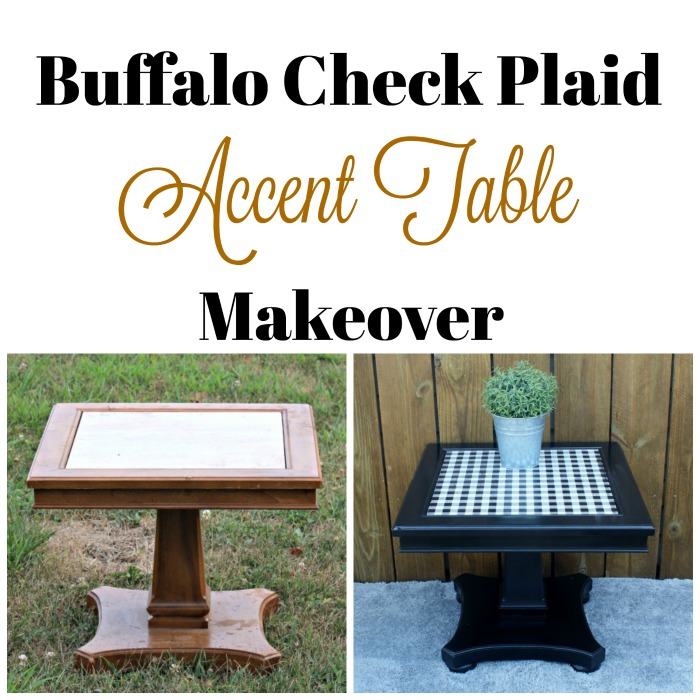 Accent Table Upcycle With Paint & Buffalo Plaid Chalk Couture Transfer by Knick of Time