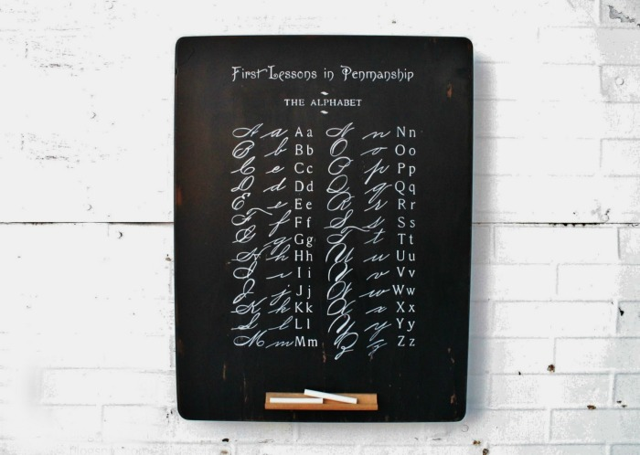 Antique Alphabet School Book Page Sign repurposed chalkboard | www.knickoftime.net