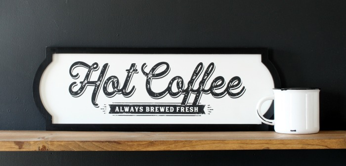 Chalk Couture Hot Coffee Sign on Odette Black Frame by Knick of Time