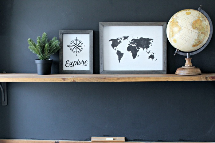 Chalk Couture Explore World Map Home Decor Wooden Sign Chalkboard Wall by Knick of Time