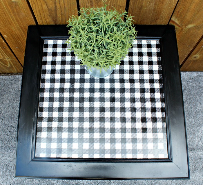 DIY Accent Table Top In Black and White Buffalo Plaid by Knick of Time