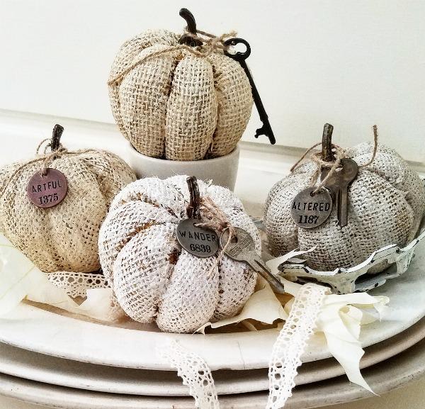 DIY Shabby Vintage Burlap Pumpkins