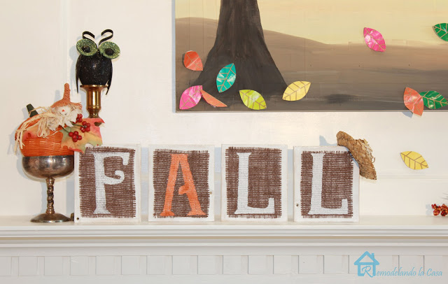 Fall Burlap Wooden Letters Sign
