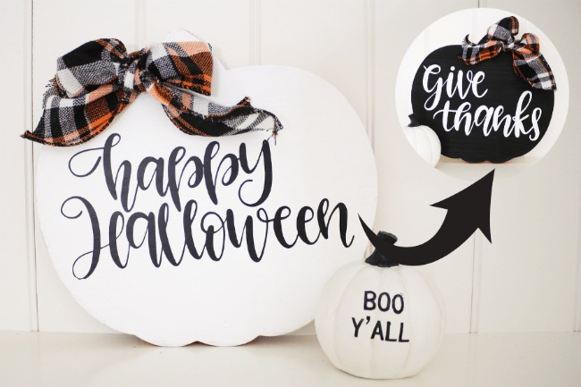 Reversible Fall Holiday Sign