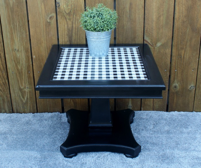 Small Side Table Upcyled In Black and White Buffalo Check by Knick of Time