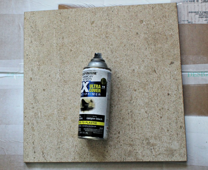 Spray painting tile for side table insert