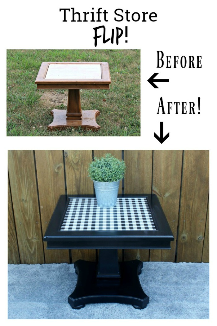 Makeover that tired side table with paint and trendy buffalo check easily! Gorgeous all year but especially perfect for Autumn and Winter. See how at Knick of Time / www.knickoftime.net #thriftstore #upcycle #farmhousestyle #buffaloplaid #trending #homedecor #furniture #accenttable #blackandwhite #plaid #paintedfurniture #Autumn #winter #Christmas #yardsale