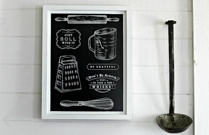 Vintage Kitchen White Farmhouse Framed Chalkboard Wall Art