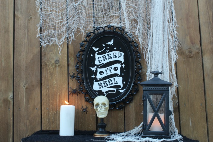 Black Gothic Halloween Painted Mirror Skeleton Decor