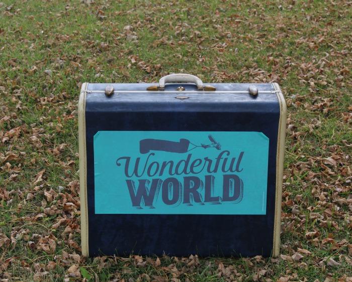 Chalk Couture transfer on Vintage Blue Samsonite Suitcase