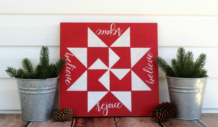 DIY Christmas Barn Quilt Sign