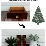 Christmas Tree Farm Repurposed Drawer coffee table centerpiece upcycled decor