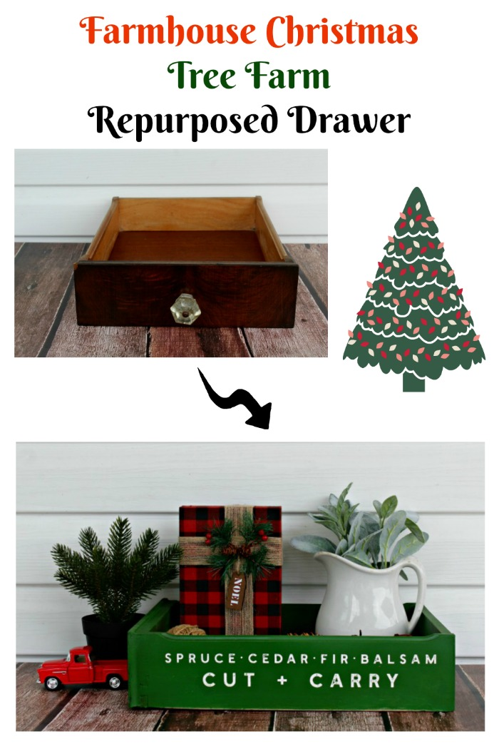 Old Truck With Christmas Tree Painting.Farmhouse Christmas Tree Farm Repurposed Drawer Knick Of Time