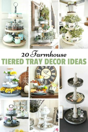 20+ Farmhouse Tiered Tray Decor Ideas from Knick of Time